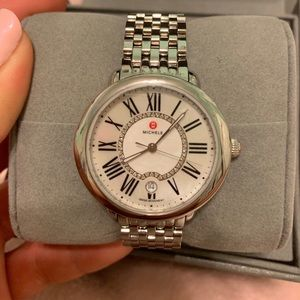 Michele mid stainless steel diamond dial watch